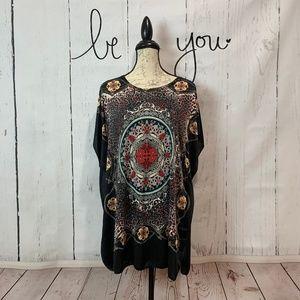 Lara Silky Print Tunic Top One Size